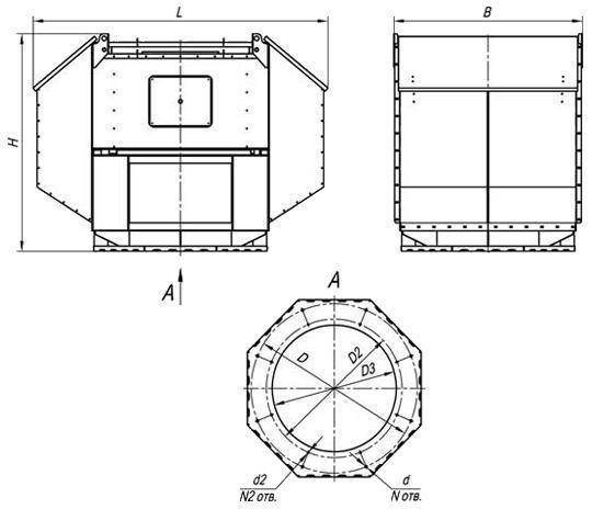 Вентилятор ВКРВ габаритные размеры
