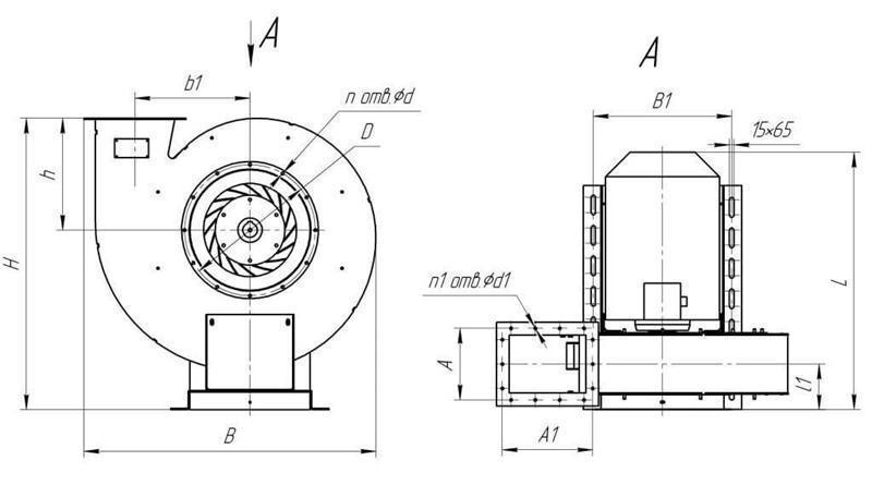 Габаритные размеры вентилятора ВР 132-30